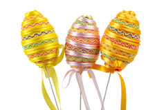 Easter eggs. Colorful easter eggs with a ribbon royalty free stock photography