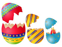 Easter eggs. Three colored easter eggs with surprise Stock Images