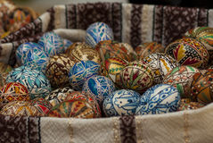 Easter eggs. Home hand-made colorful Easter eggs in a basket Royalty Free Stock Images