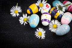 Easter eggs. And crocuses on black background Stock Photos
