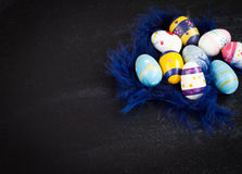 Easter eggs. On black background Stock Photos