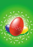 Easter eggs. Blue, red and yellow easter eggs on green background royalty free illustration