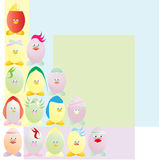 Easter eggs. 15 different funny easter cartoon eggs Royalty Free Stock Photography