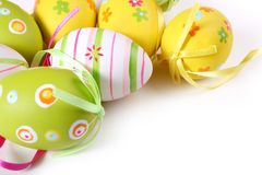 Easter eggs. Pastel and colored Easter eggs on white Royalty Free Stock Images