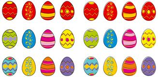 Easter eggs. Set of bright coloured easter eggs in two styles available in vector format Royalty Free Stock Images