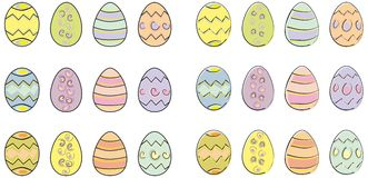 Easter eggs. Set of pastel coloured easter eggs in two styles available in vector format Royalty Free Stock Photo