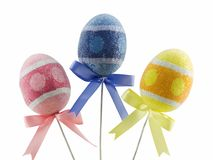 Easter Eggs. Three different colored easter eggs isolated on white Royalty Free Stock Images