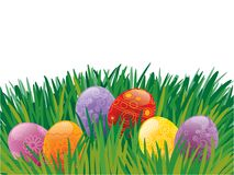 Easter eggs. Easter painted eggs lying on the grass Stock Photos