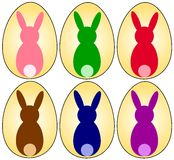 Easter eggs. With bunny silhouette in different colors. Available as Illustrator-File Stock Image