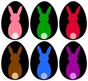 Easter eggs. Black easter eggs with bunny silhouette in different colors. Available as Illustrator-File Stock Image