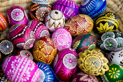 Easter eggs. On the wooden plate Stock Image