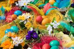 Easter eggs. On the wooden plate Royalty Free Stock Photo