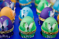 Easter eggs. With colourful butterflies Stock Photo