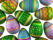 Easter eggs. 3d render of a falling easter eggs Royalty Free Stock Photos