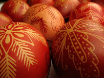 Easter eggs. Traditional red color easter eggs Royalty Free Stock Images