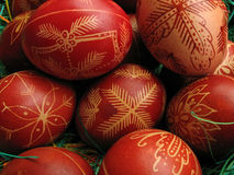 Easter eggs. Traditional red color easter eggs in the basket Royalty Free Stock Images
