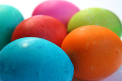 Easter Eggs. Colorful Easter Eggs hand painted by children against a white background Royalty Free Stock Photos