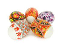 Easter eggs. Decorated with the Ukrainian national figure on a white background Stock Photo