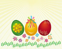 Easter eggs. With small flowers Stock Photos