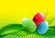 Easter eggs. On the green background Stock Photos