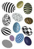 Easter Eggs. Of various colors and patterns including paths to make cutting out easier Stock Photo