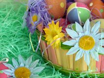 Easter Eggs. Shot of a traditional decorated Easter basket with some flowers and several eggs, very colorful Stock Photography