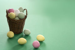 Easter eggs. With wooden basket Royalty Free Stock Photography