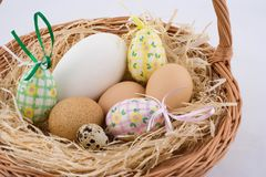 Easter eggs. Easter basket Royalty Free Stock Images