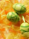 Easter eggs. Green easter eggs Stock Photos