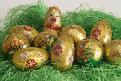 Easter eggs. Easter nest with eggs royalty free stock photos