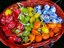 Easter eggs. Bunch of Easter eggs in a basket stock photography