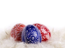 Easter eggs. Three easter eggs front isolated background Stock Photography