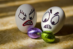 Easter Eggs. Show their emotion before their big day Stock Photography