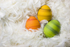 Easter eggs. Colorful easter eggs in green, orange and yellow, hand-painted, lying in white feathers Stock Photos