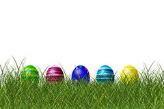 Easter eggs. Eater eggs in a row on a meadow royalty free illustration