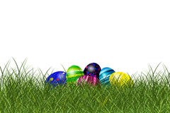Easter eggs. On a meadow stock illustration