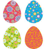 Easter eggs. Illustration of four easter eggs with flowers background