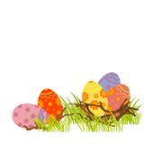 Easter eggs. Painted easter eggs in nest in fresh green grass, elements for design Royalty Free Stock Photography