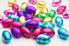 Easter eggs. Colorful chocolate Easter eggs on a white background Stock Photo