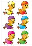 Easter eggs. Chicks in easter eggs different colour vector illustration