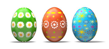 Easter Eggs. Beautiful Easter eggs.Isolated on white with Clipping Mask. 3D render Royalty Free Stock Photos