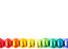 Easter-eggs. Wrapped easter-eggs in rainbow colors Stock Photo