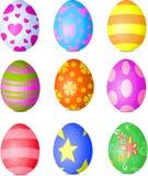 Easter eggs. Nine fine painted eggs designed for Easter Stock Images