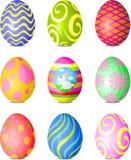Easter eggs. Nine fine painted eggs designed for Easter Stock Photos