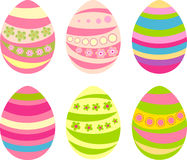Easter eggs. Set of six Easter eggs with hearts Stock Photo