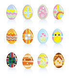 Easter eggs. The set of 12 Easter eggs Royalty Free Stock Images