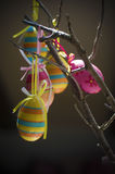 Easter eggs. Five decorated Easter eggs hanging on a branch Royalty Free Stock Photo