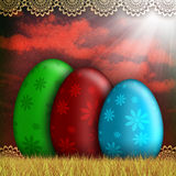 Easter eggs on abstract background. Colored Easter eggs on abstract background Stock Photo