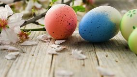 Easter eggs and almond blossom panning, on old wooden floor stock video footage