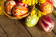 Free Easter Eggs And Tilips Hand Painted Stock Images - 18545604